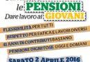 """Sabato 2 Aprile a Bari Mobilitazione di CGIL CISL UIL """"Cambiare le pensioni e dare lavoro ai giovani""""."""