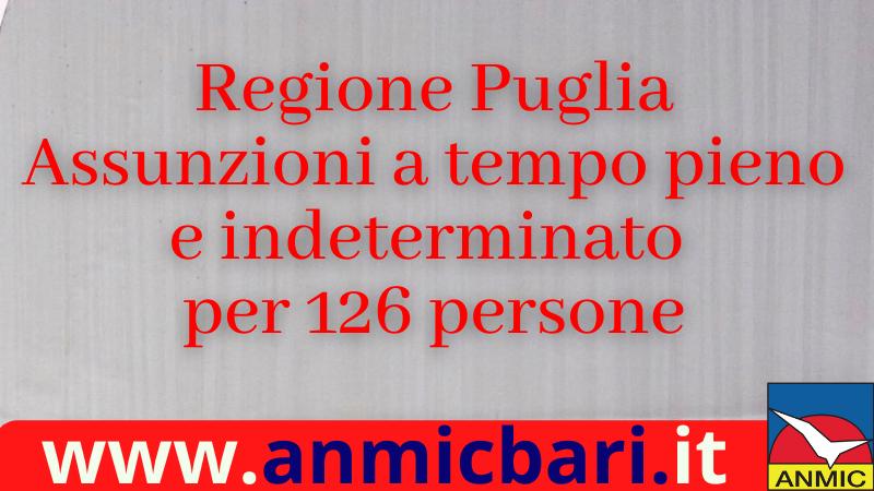 Regione Puglia: assunzioni a tempo pieno e indeterminato per 126 persone